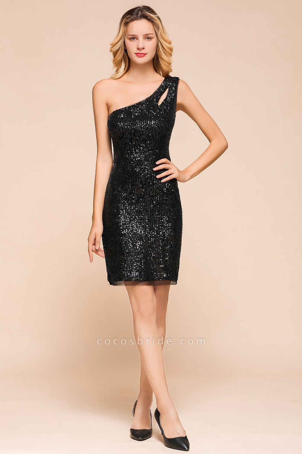 Latest One Shoulder Sequins Sheath Prom Dress