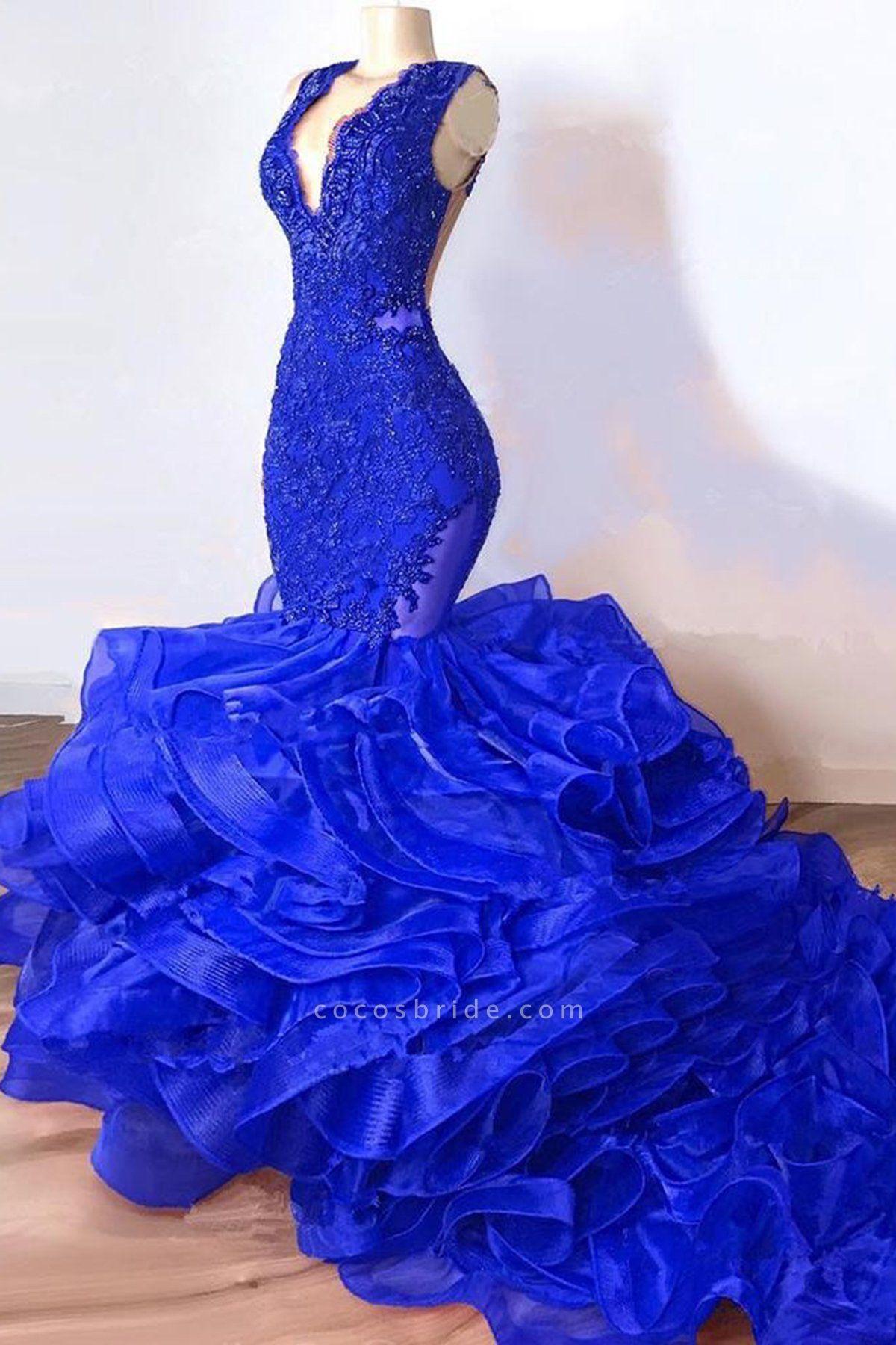 Royal Blue Mermaid Long Ruffles Prom Dresses