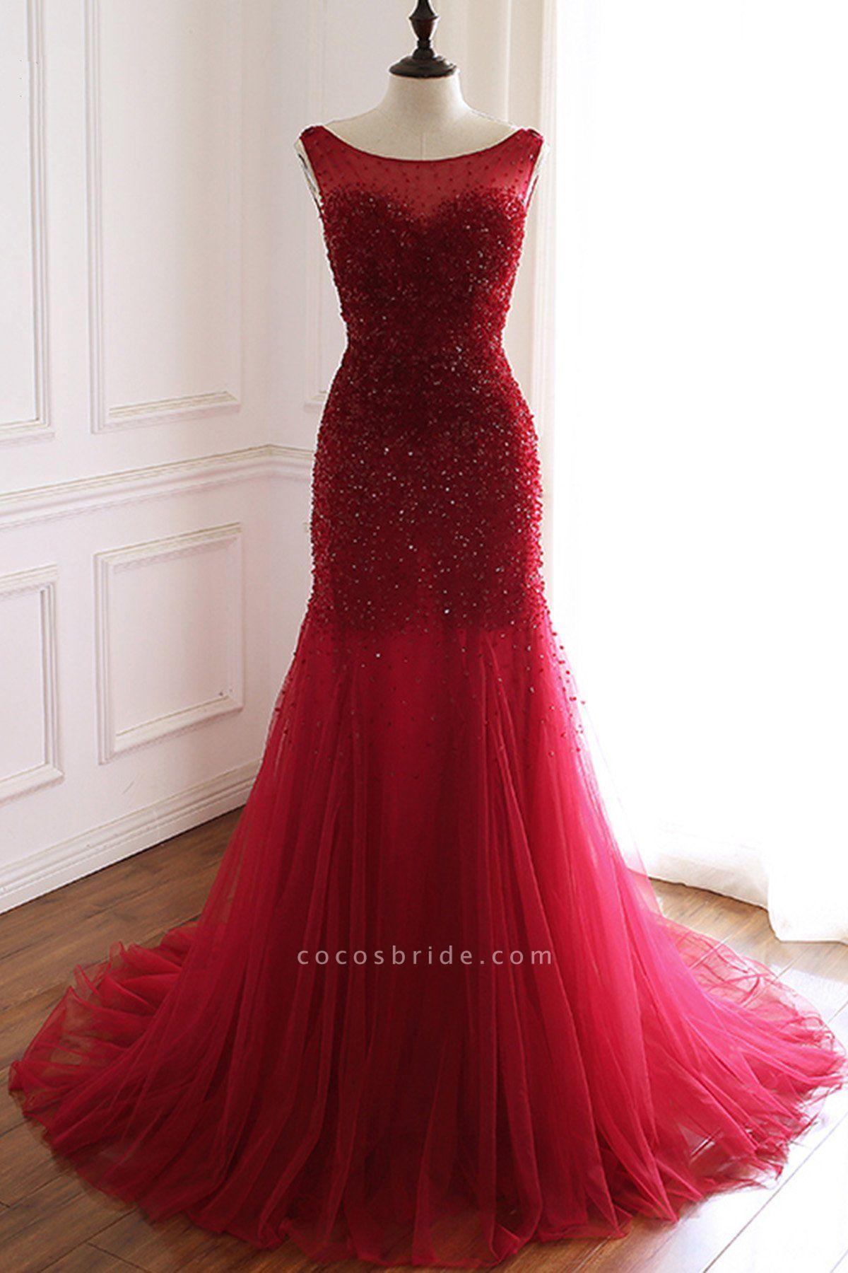 Burgundy Tulle Open Back Beaded Long Mermaid Prom Dress