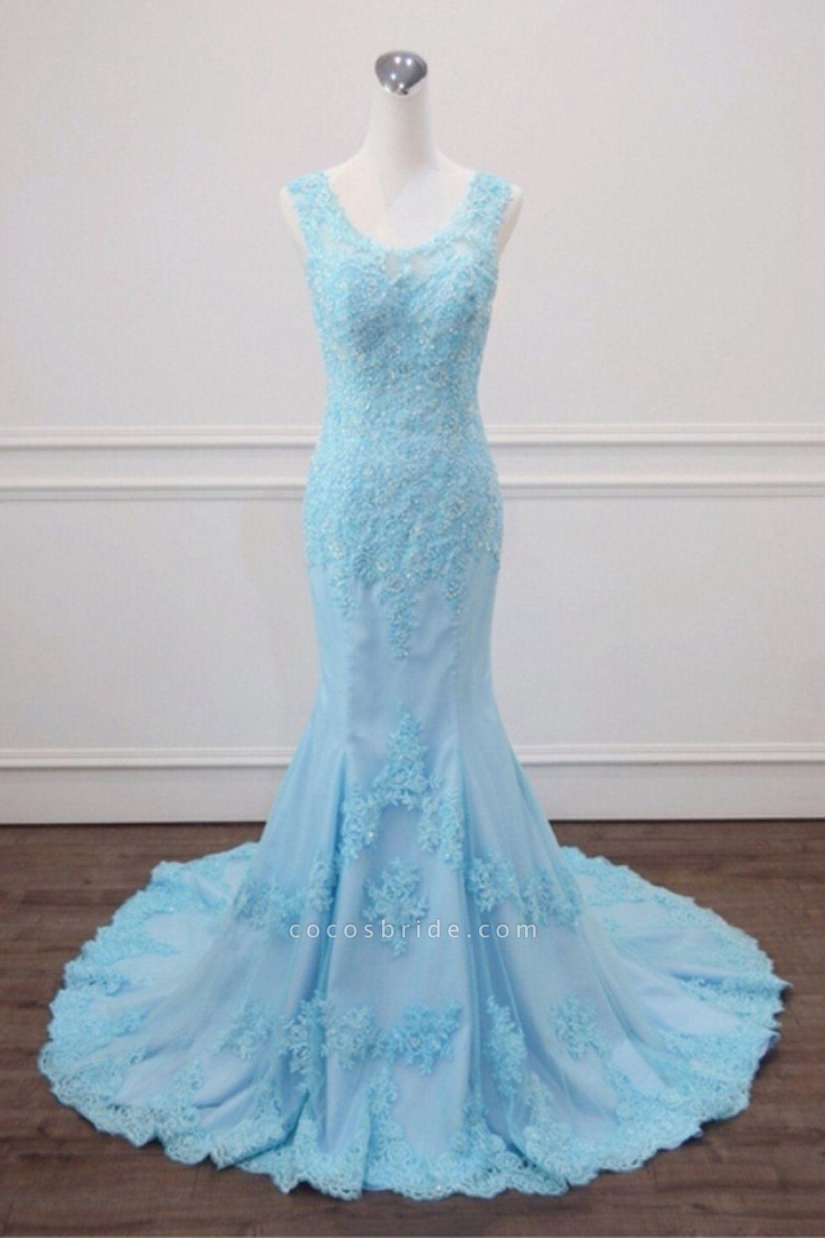 Light Blue Lace Beaded Mermaid Appliques Senior Prom Dress