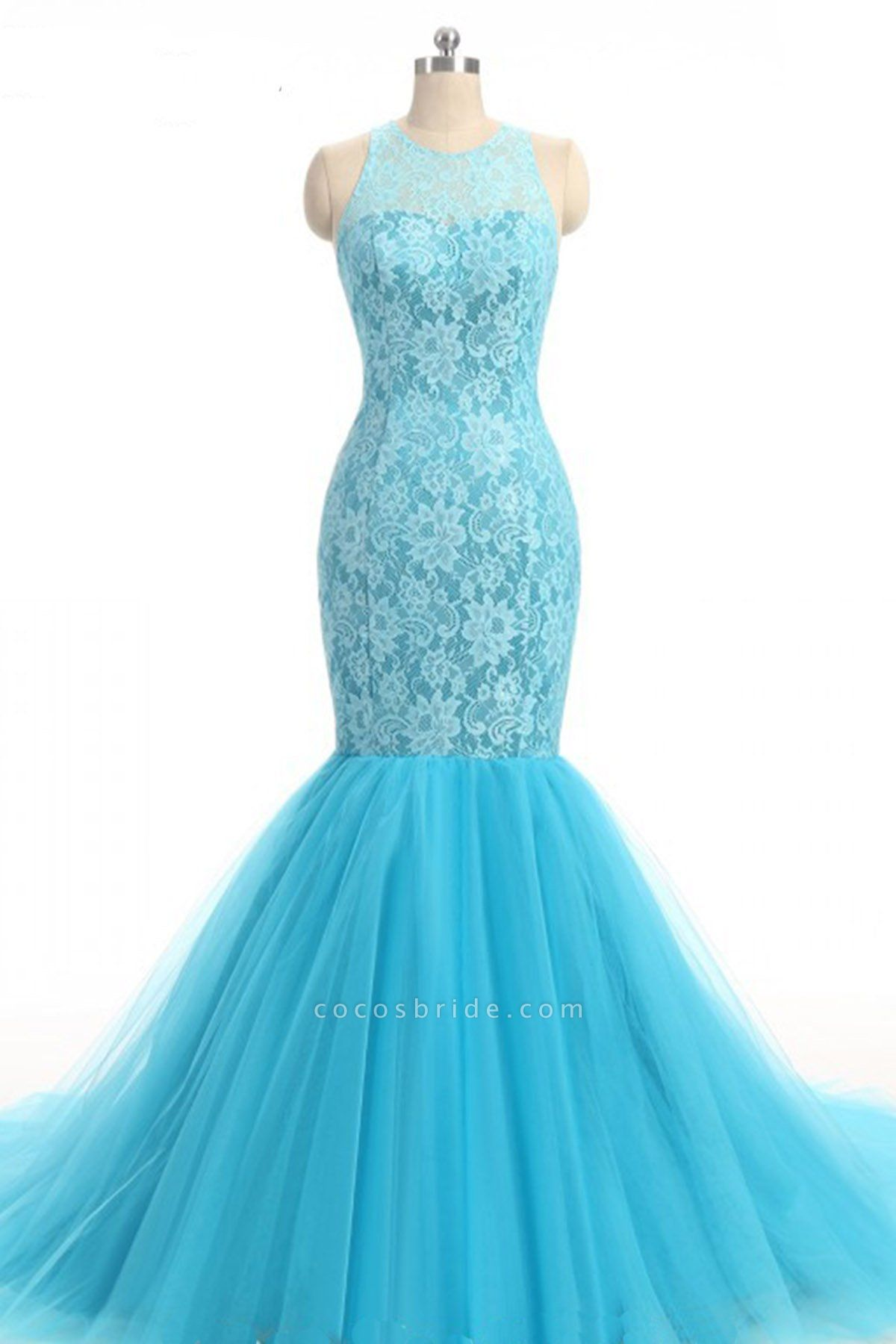 Baby Blue Lace O Neck Long Mermaid Prom Dress