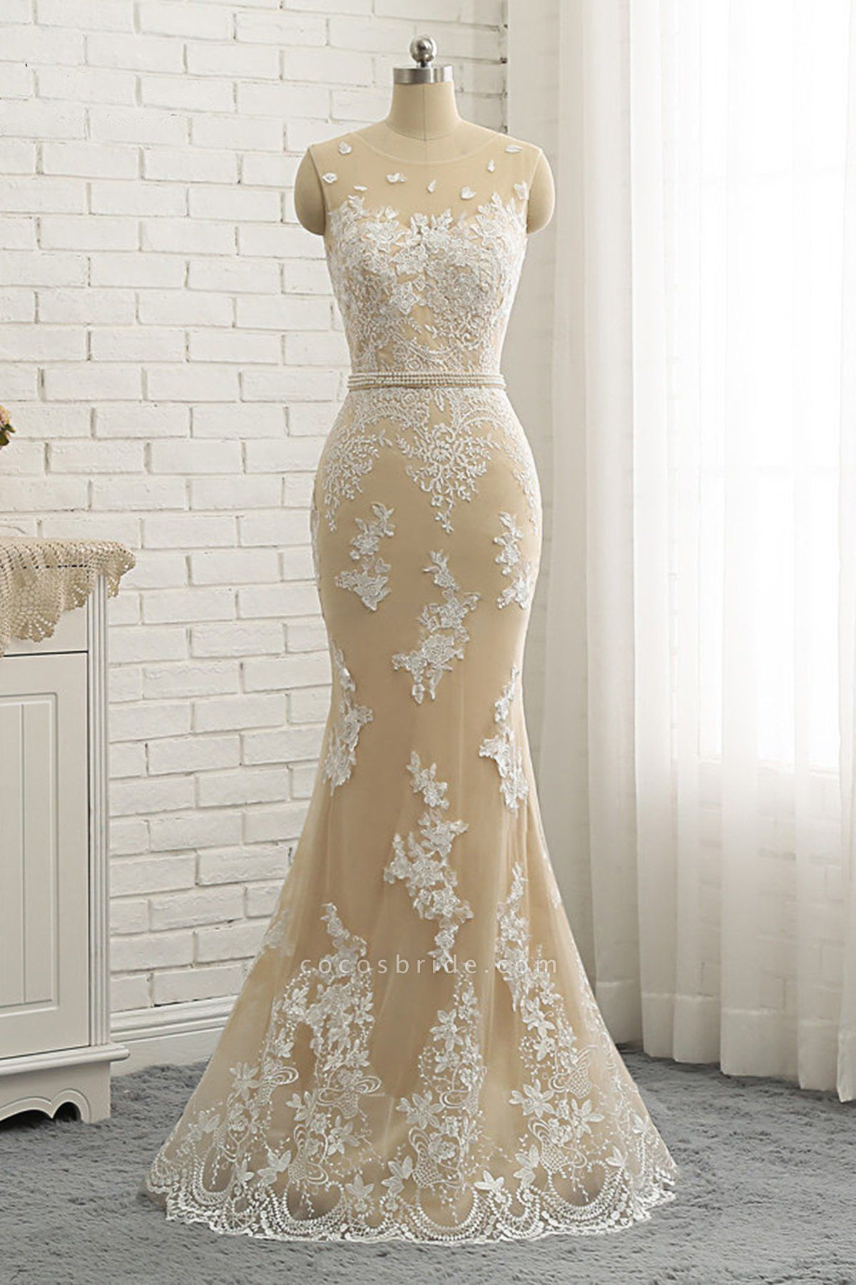 Nude Tulle Round Neck Lace Long Mermaid Pearl Prom Dress