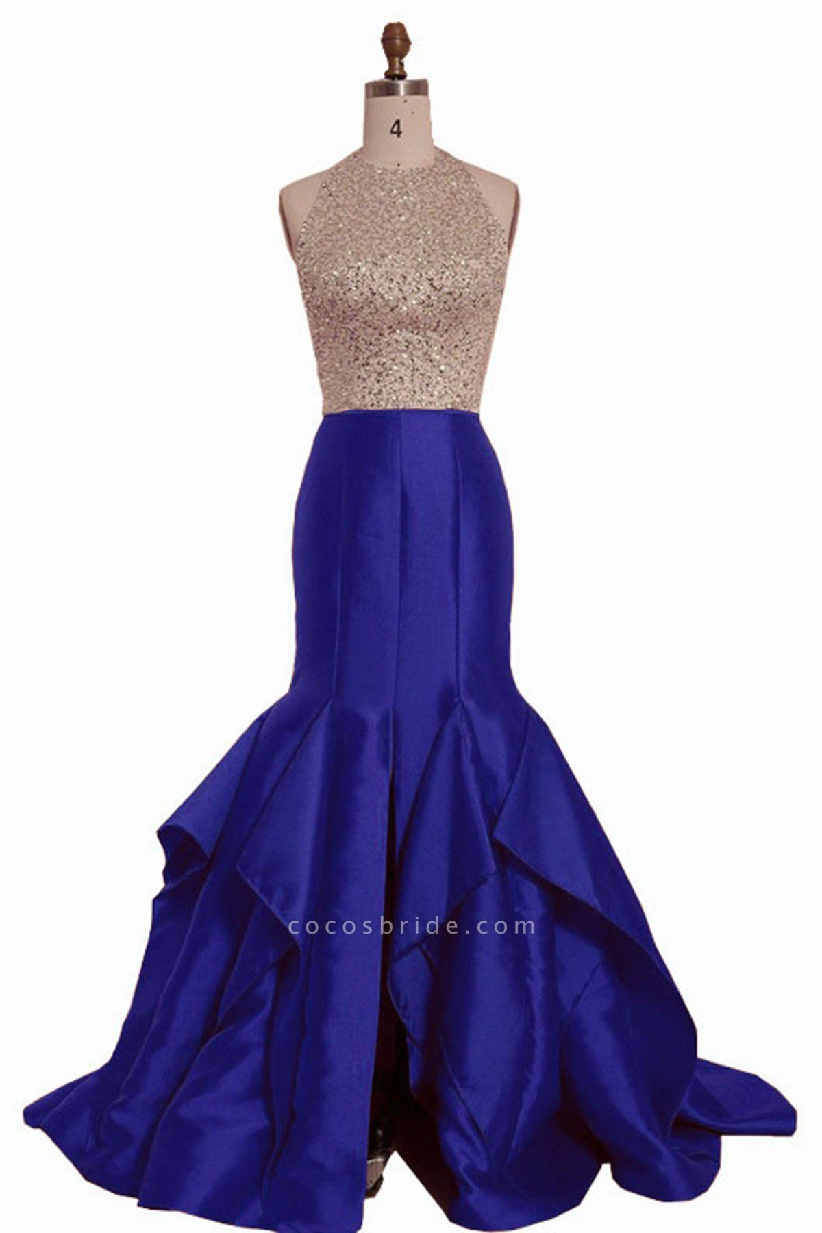 Royal Blue Satin Strapless Long Mermaid Sequins O Neck Backless Prom Dress