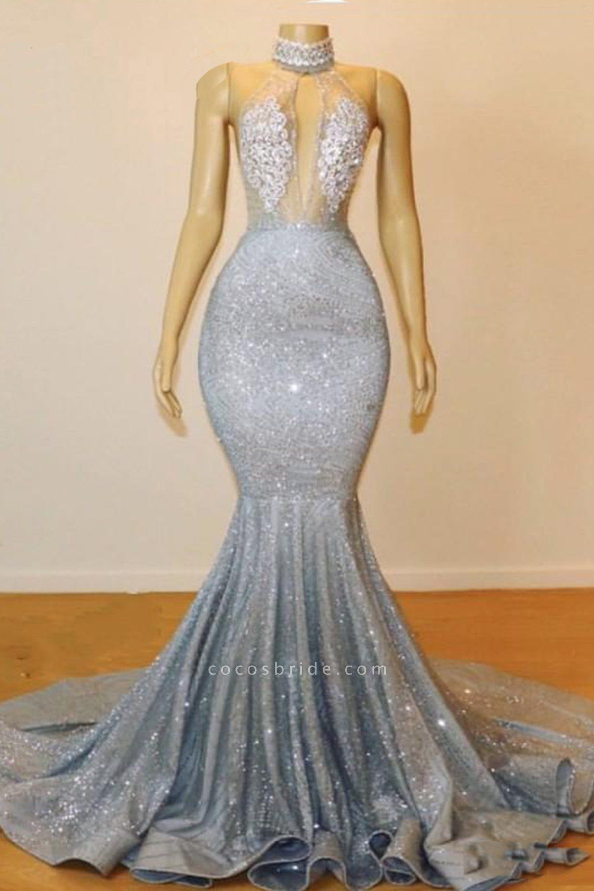 Blue Sequins Backless Long Mermaid Crystal Beaded Prom Dress