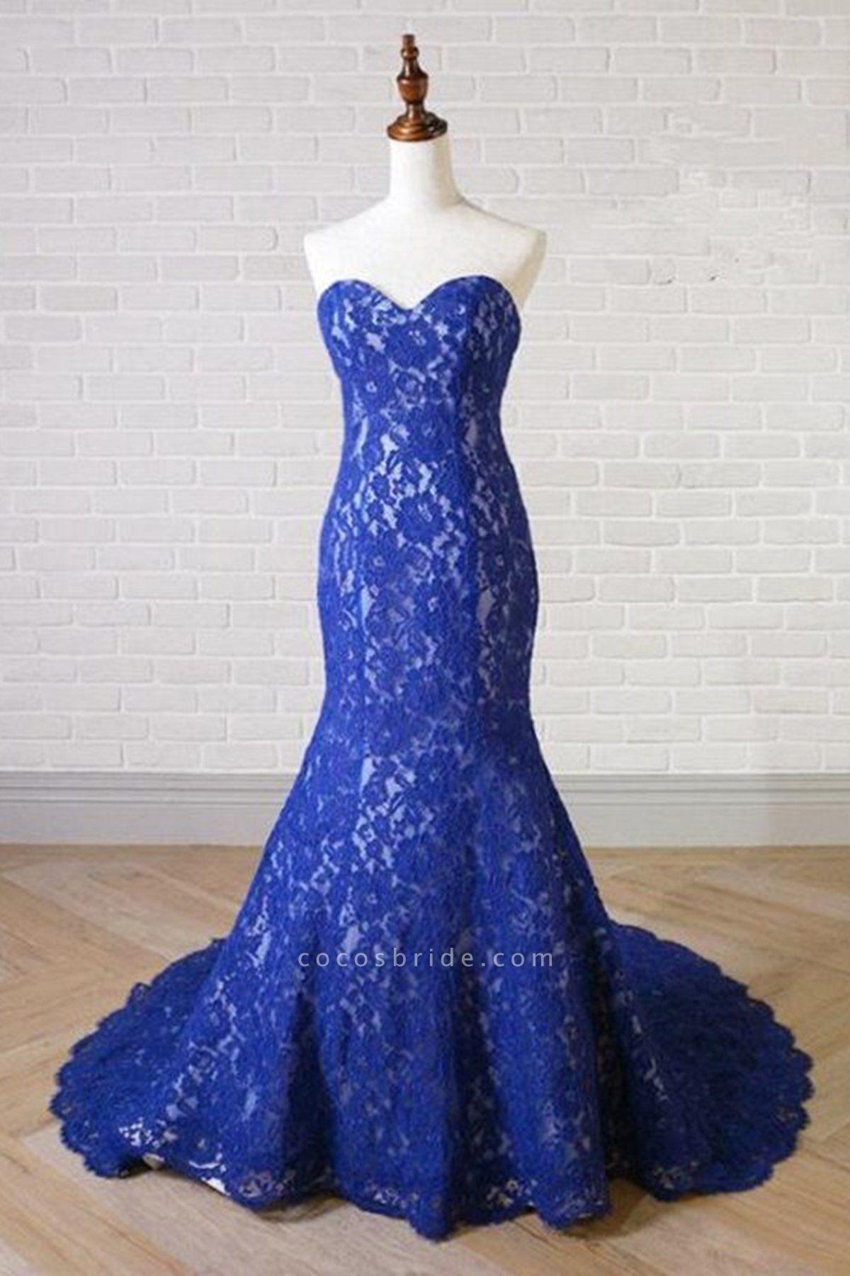 Sweetheart Neck Royal Blue Lace Long Mermaid Prom Dress