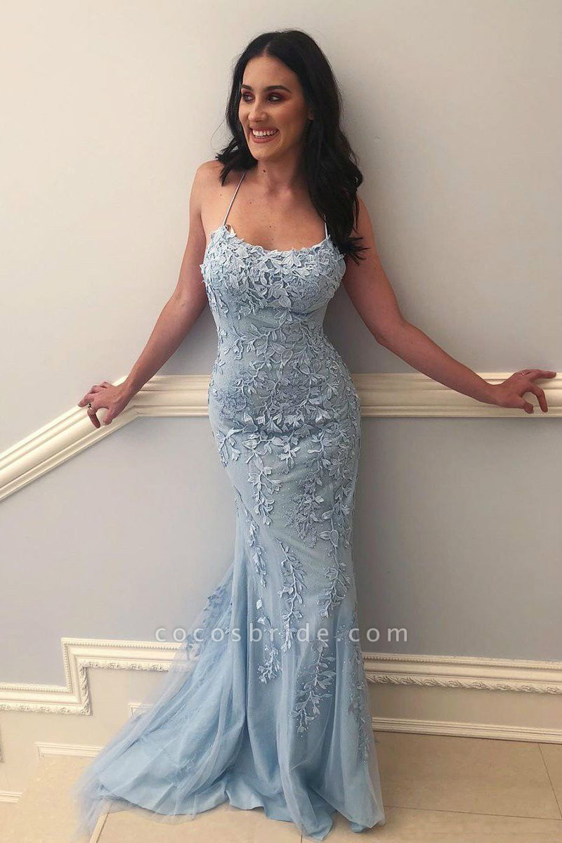Mermaid Light Blue Prom Dress with Appliques Prom Dress