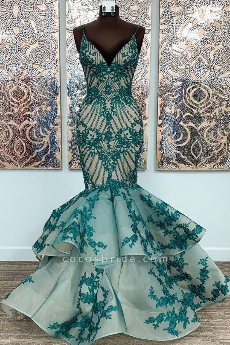 Green Lace Spaghetti Straps Long Mermaid Dress Tulle Prom Dress