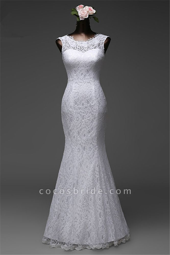 Affordable Long Jewel Floor-length Mermaid Lace Wedding Dress