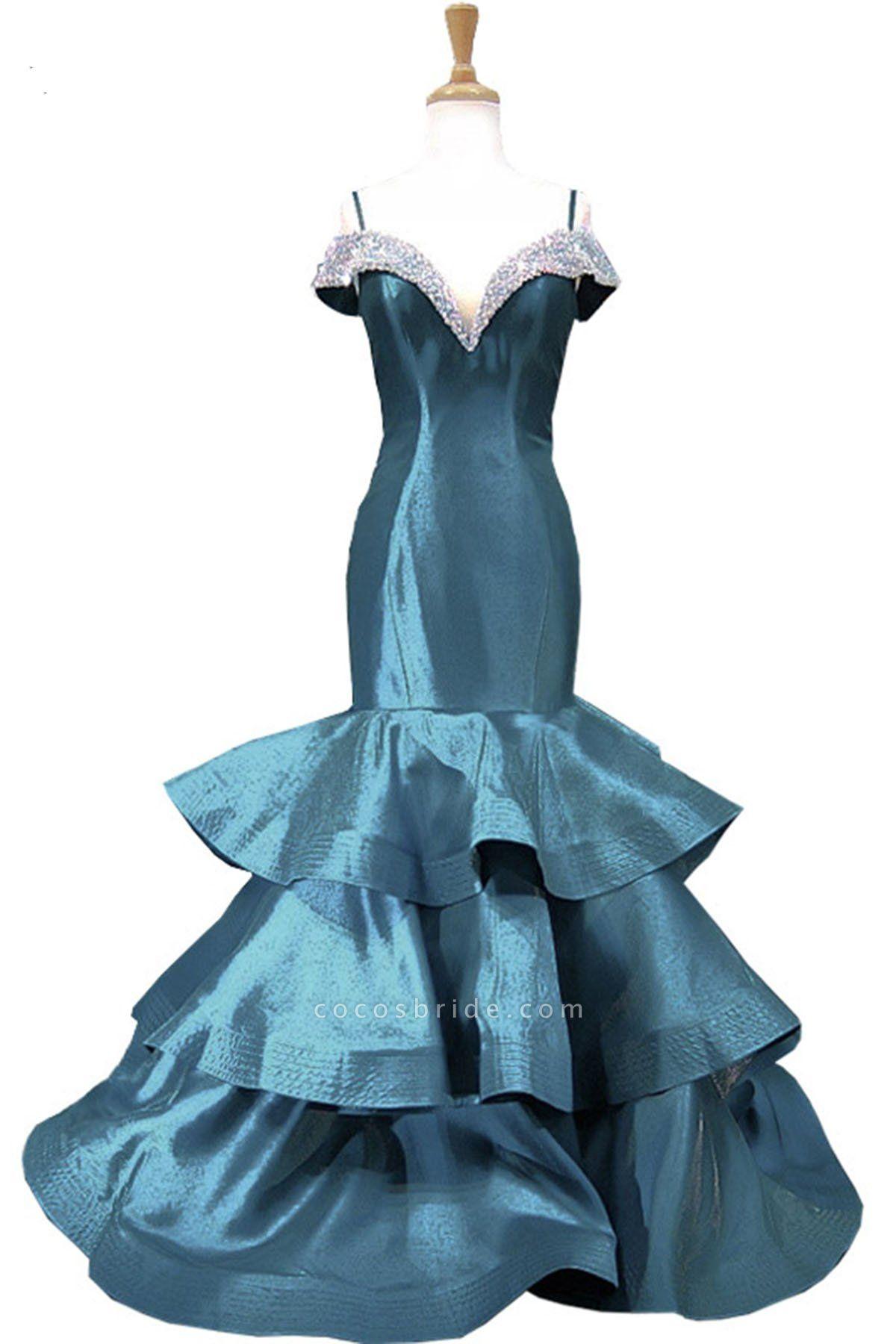 Blue Satin V Neck Spaghetti Long Layered Mermaid Prom Dress