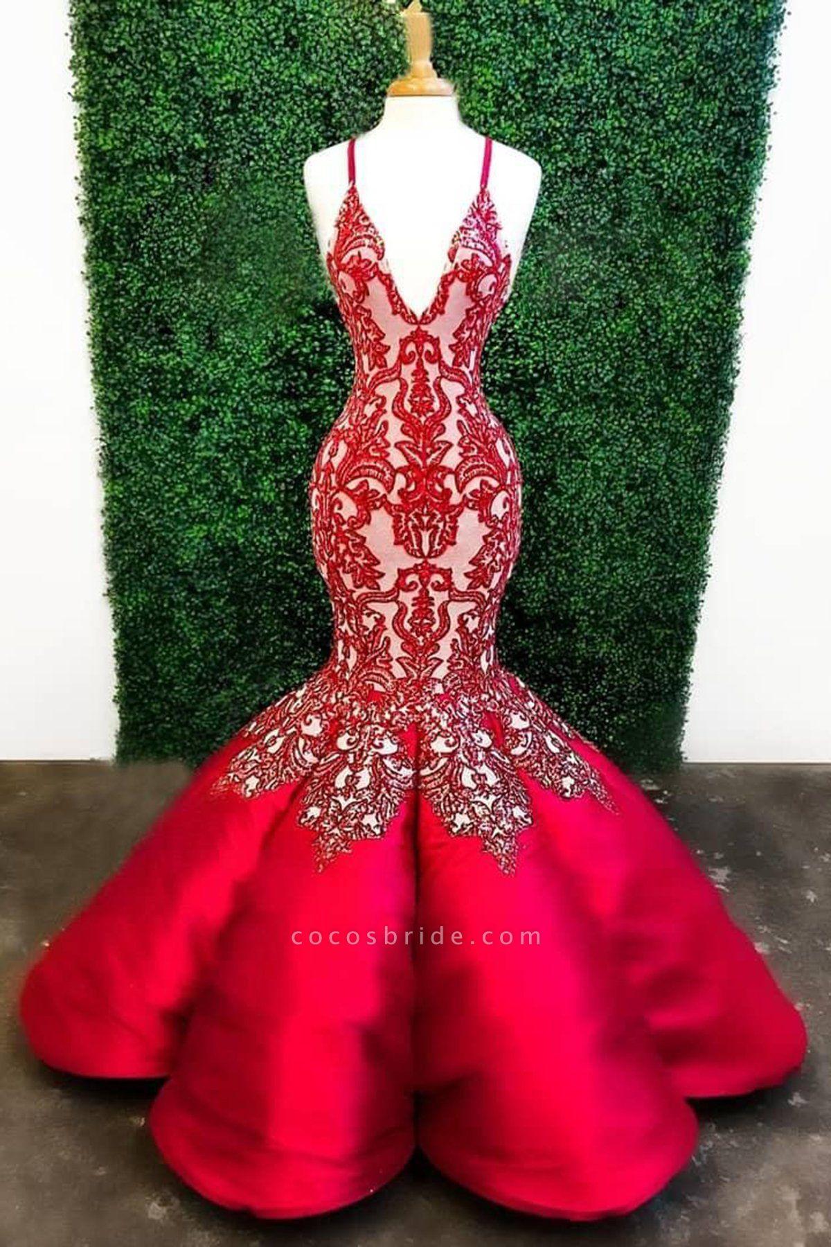 Red Mermaid Deep V Neck Lace Appliques Mermaid Prom Dresses