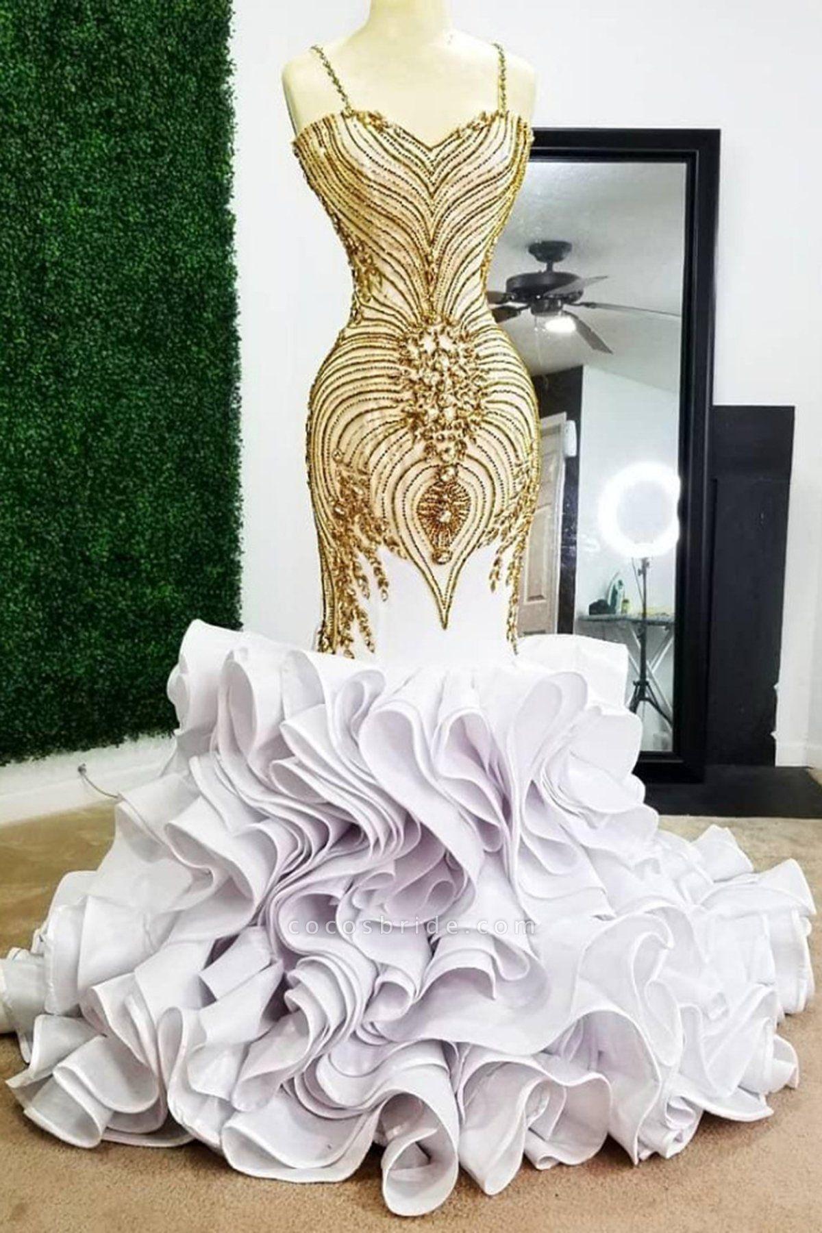 White Mermaid Gold Beading Plus Size Prom Dresses