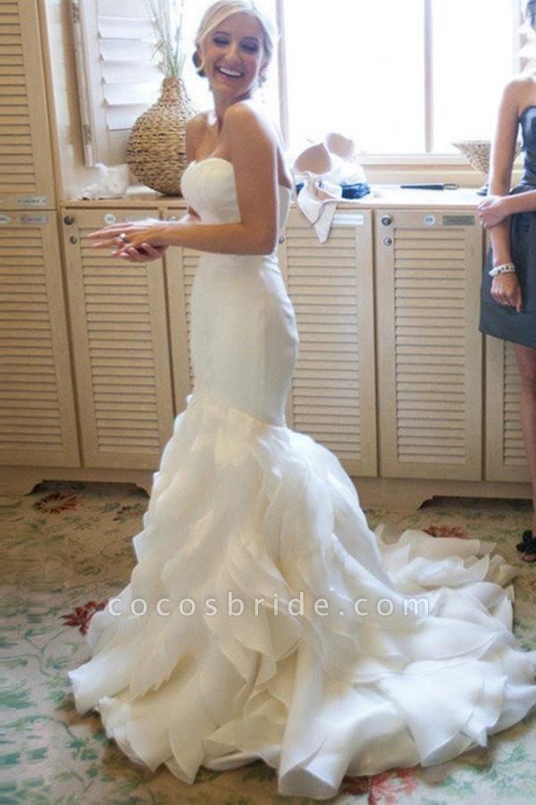 Strapless Mermaid Sweetheart Ruffles Sweep Train Organza Satin Wedding Dress