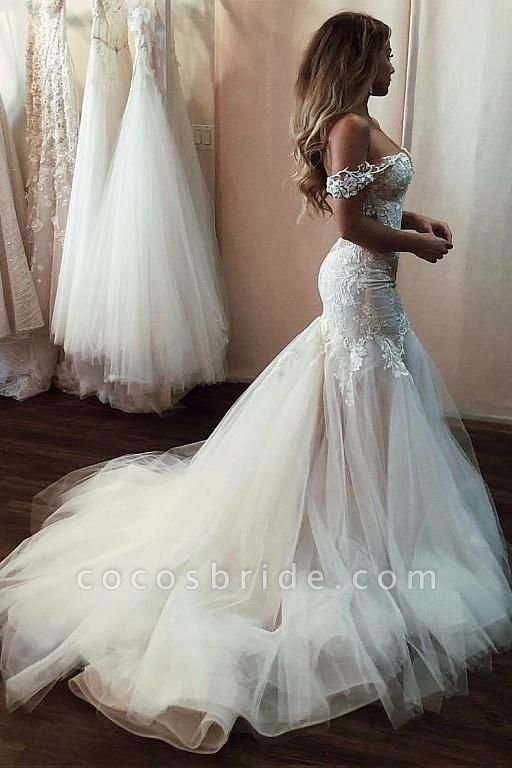Off the Shoulder Mermaid Lace Long Tulle Wedding Dress