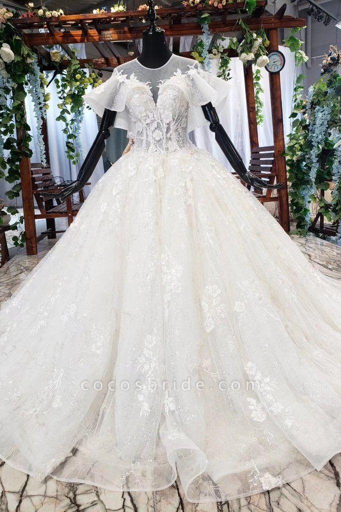 Gorgeous Ball Gown Big Princess Sleeves Wedding Dress