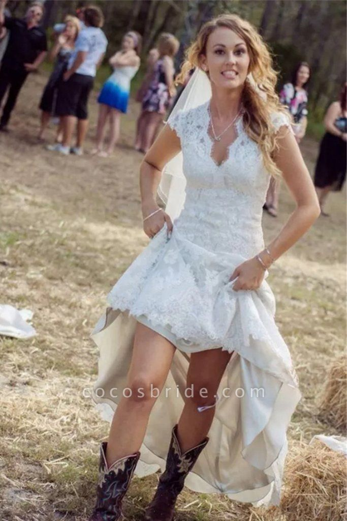 A-line V-neck Cap Sleeves Open Back Lace Beach Wedding Dress