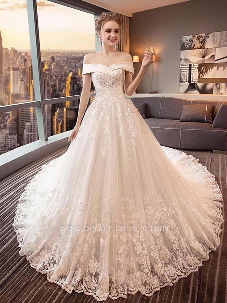Glamorous Lace-up Beaded Ball Gown Wedding Dresses