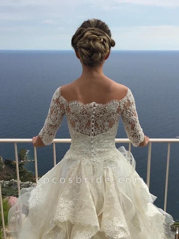 Gorgeous Design Wave Details Half Sleeve Lace Wedding Dresses