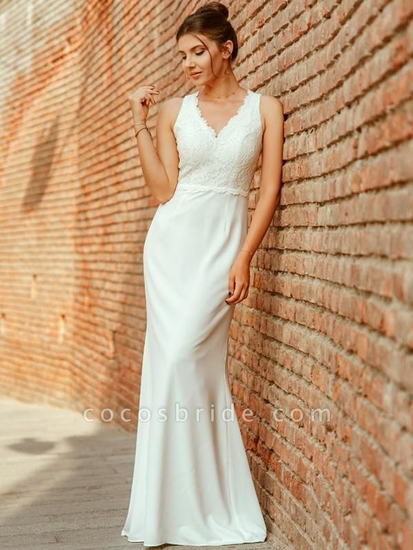 Elegant V Neck Lace Mermaid Wedding Dresses