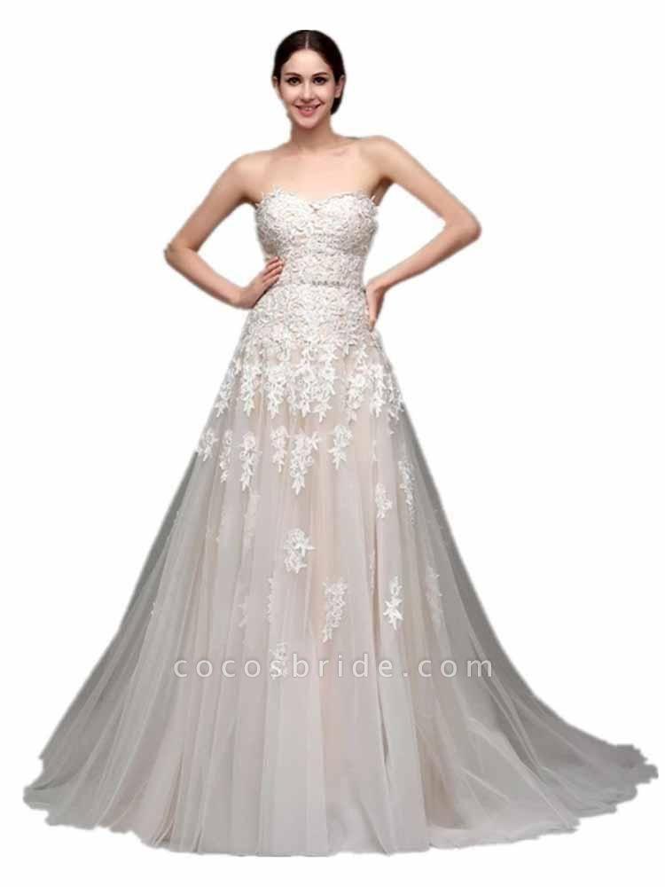 Elegant Sweetheart Beaded Lace Tulle Wedding Dresses