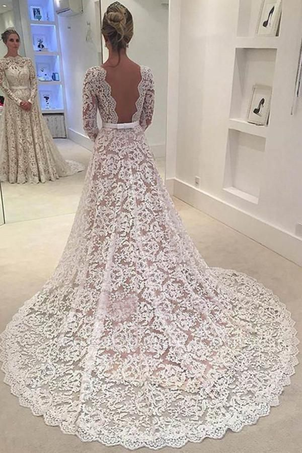Elegant Ivory A-line Bateau Lace Long Sleeve Backless Wedding Dress