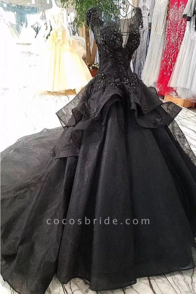 Gorgeous Black Ball Gown Cap Sleeves Long Wedding Dress