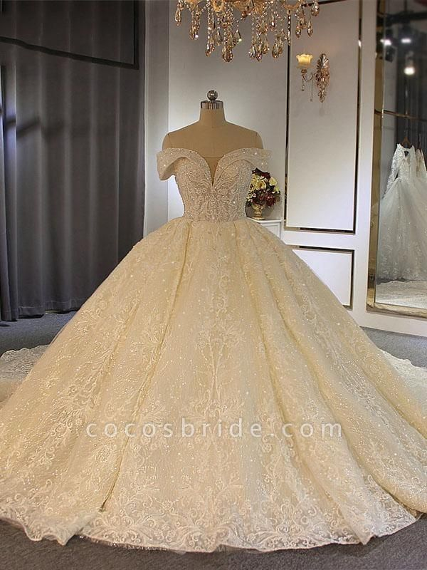 Luxury Off-the-Shoulder Lace-Up Ball Gown Wedding Dresses with Beading