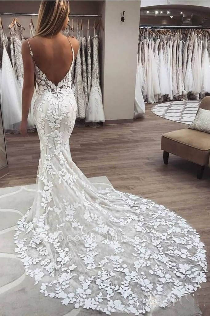Vintage Spaghetti Strap Mermaid Lace Appliques Boho Wedding Dress