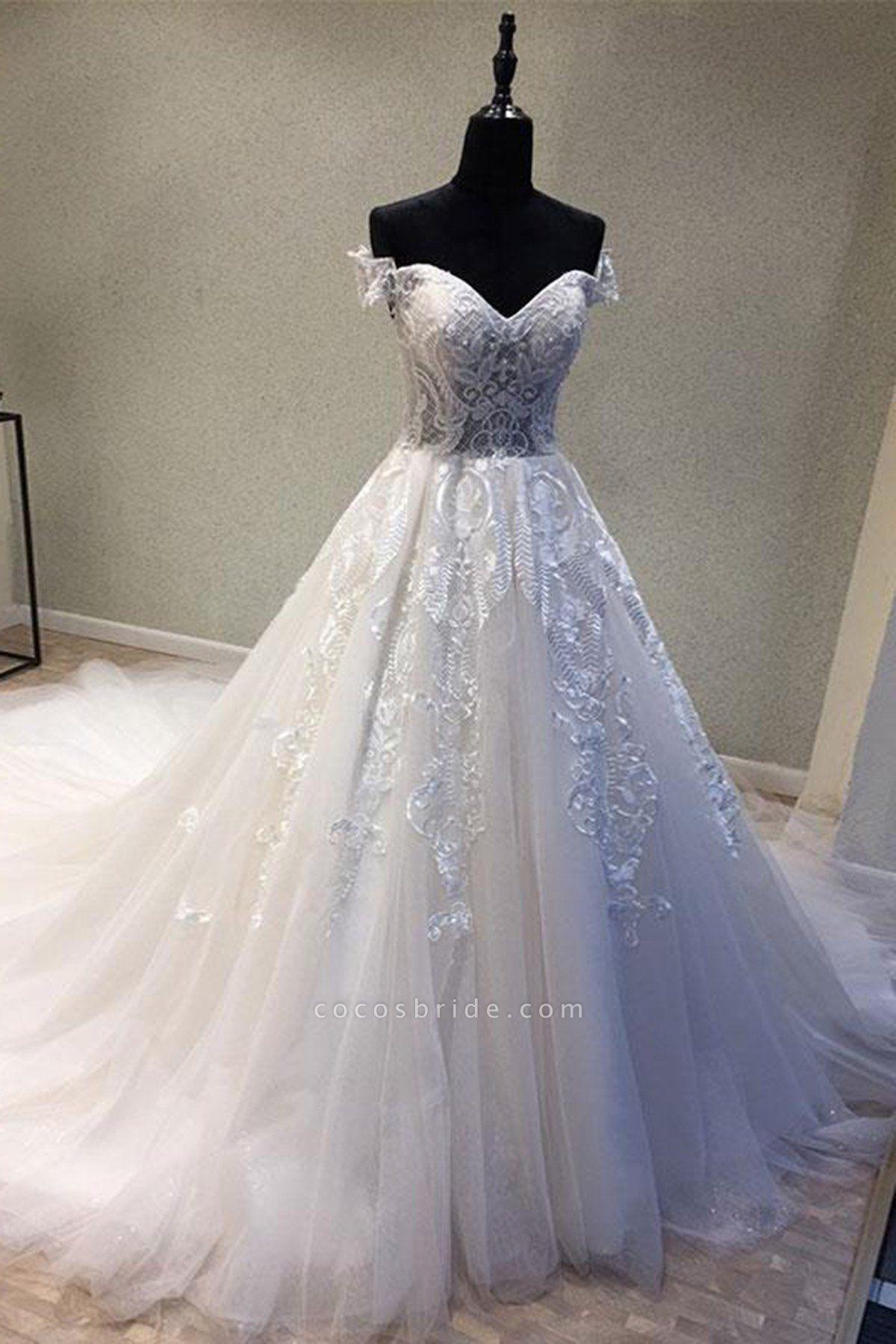 Sweetheart Neckline Off Shoulder Sweep Train Wedding Dress