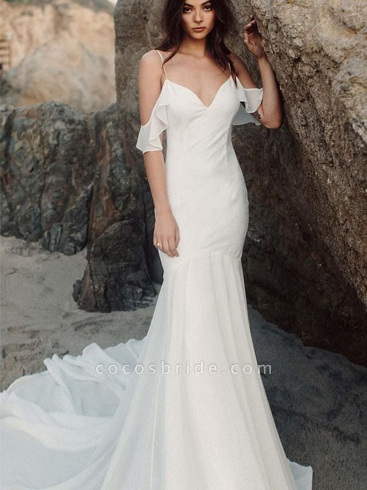 Spaghetti Straps Backless Mermaid Wedding Dresses
