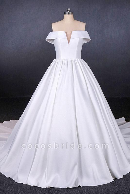 Puffy Off the Shoulder Satin Ball Gown Long Train Wedding Dress