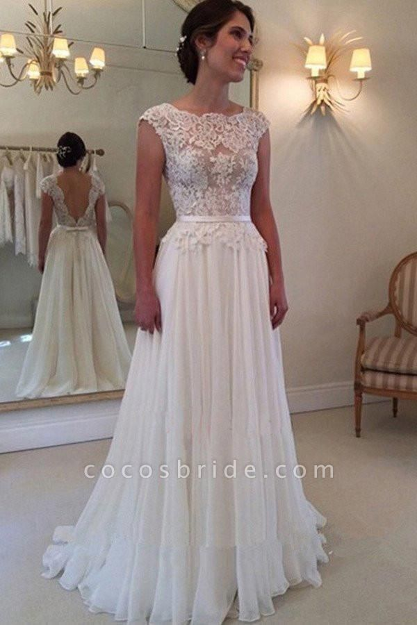 A-line Lace Appliqued Cap Sleeves Ivory Chiffon Long Beach Wedding Dress
