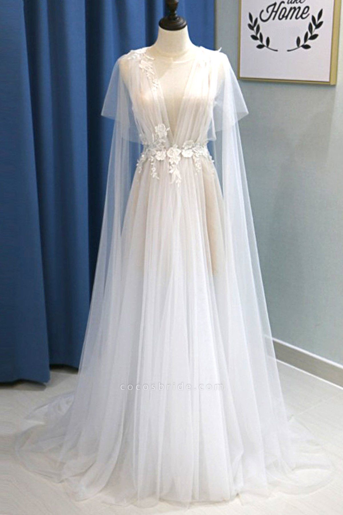White Tulle V Neck A Line Beach Wedding Dress