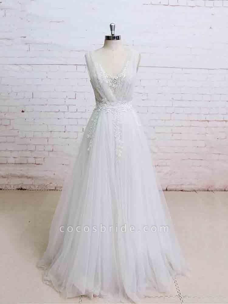 Glamorous V-Neck Backless Floor-Length Wedding Dresses