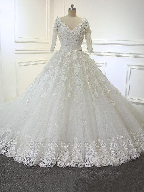 Luxury V Neck Half Sleeves Lace Ball Gown Wedding Dresses