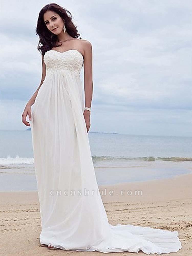 High Waist Elegant Sweetheart Ruffles Wedding Dresses