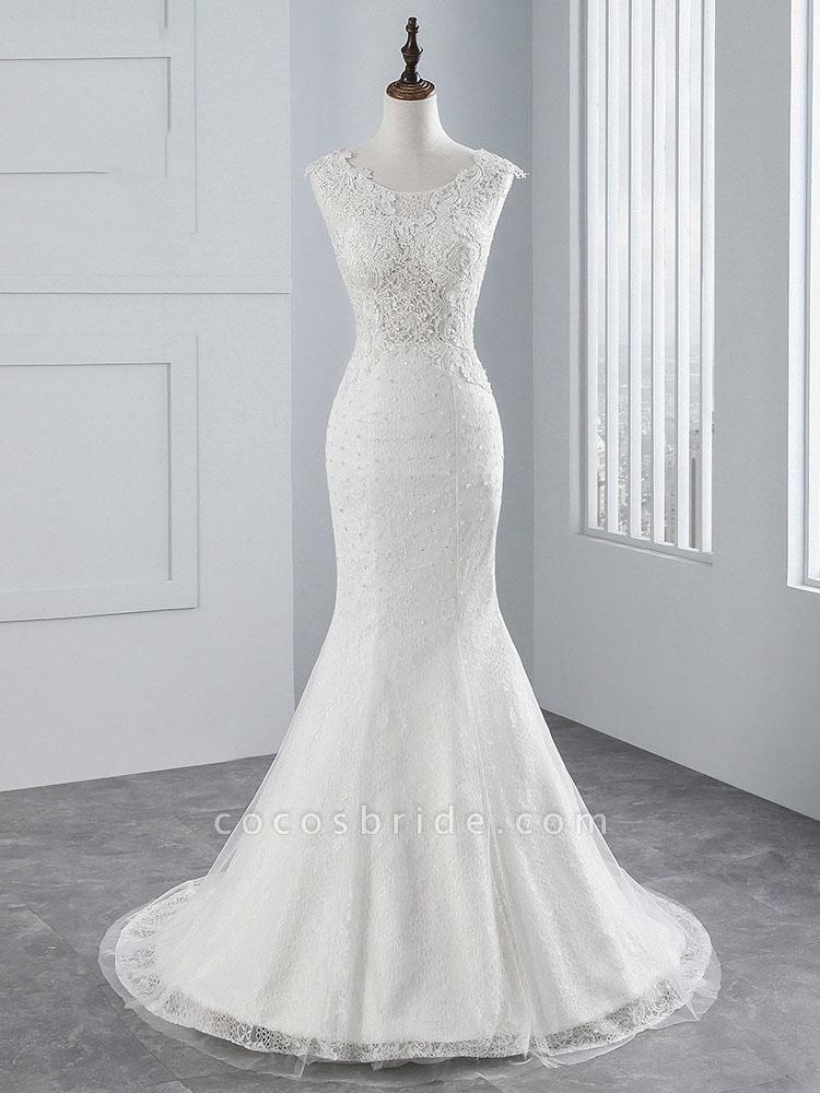 Elegant Lace Appliques Mermaid Pleated Wedding Dresses