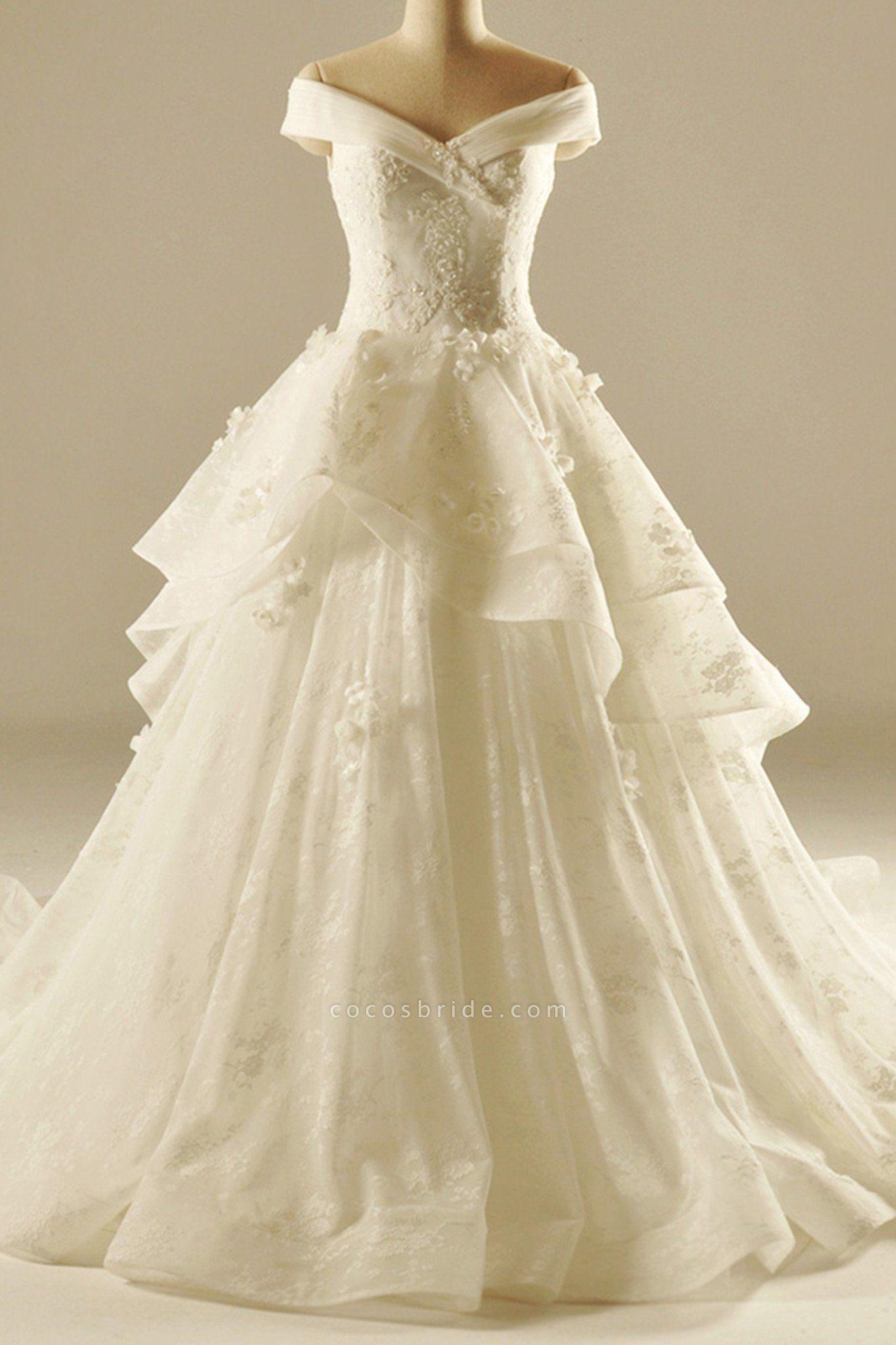 Ivory Organza Sweetheart Applique A-Line Elegant Wedding Dresses