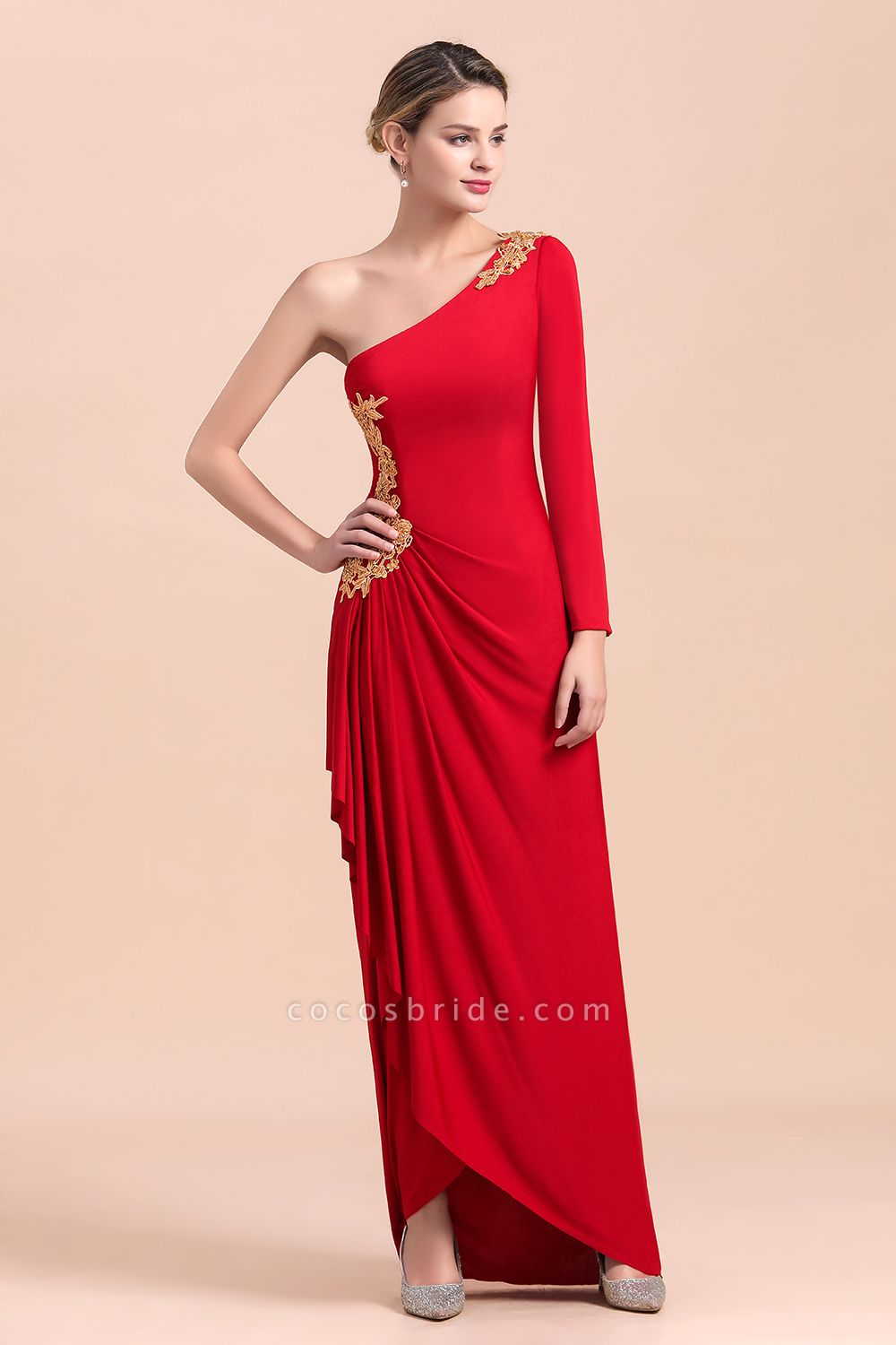 One-Shoulder Gold Appliques Long Sleeves Ruffles Mother of Bride Dress