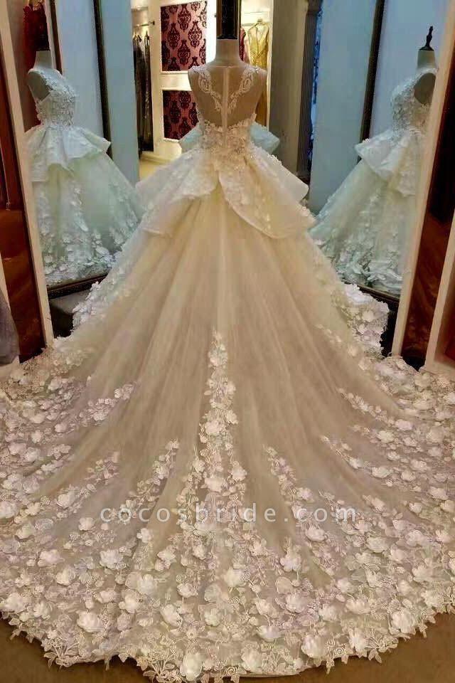 Gorgeous Sleeveless Ball Gown Appliques Flowers Court Train Wedding Dress