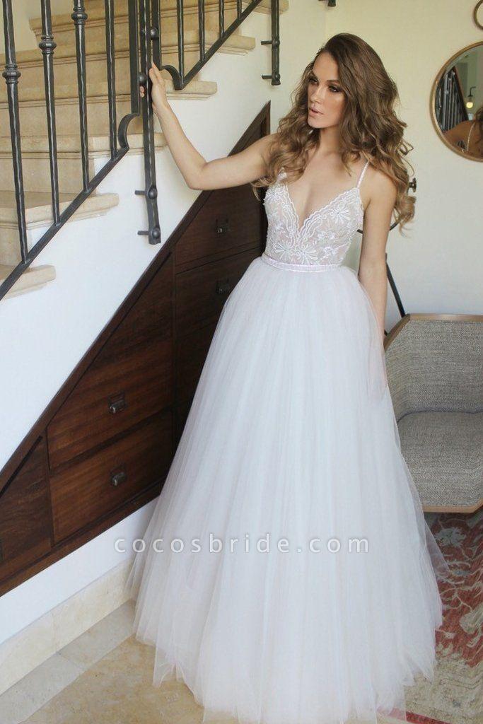 New Arrival Spaghetti Straps Ivory Floor Length Tulle Beach Wedding Dress