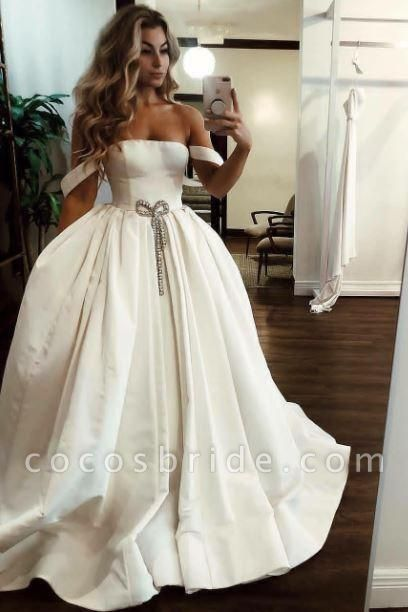 Puffy Off the Shoulder Satin Long with Pockets Simple Wedding Dress
