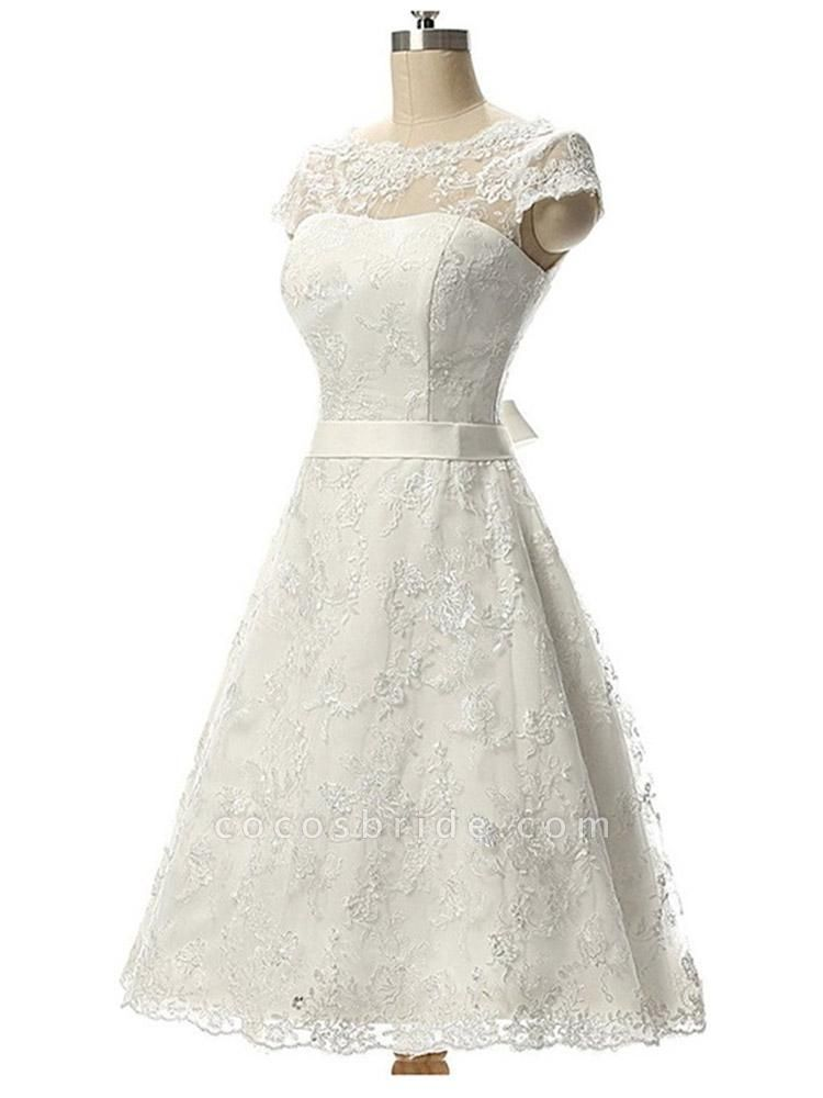 Glamorous Cap Sleeves Covered Button Ribbon Wedding Dresses
