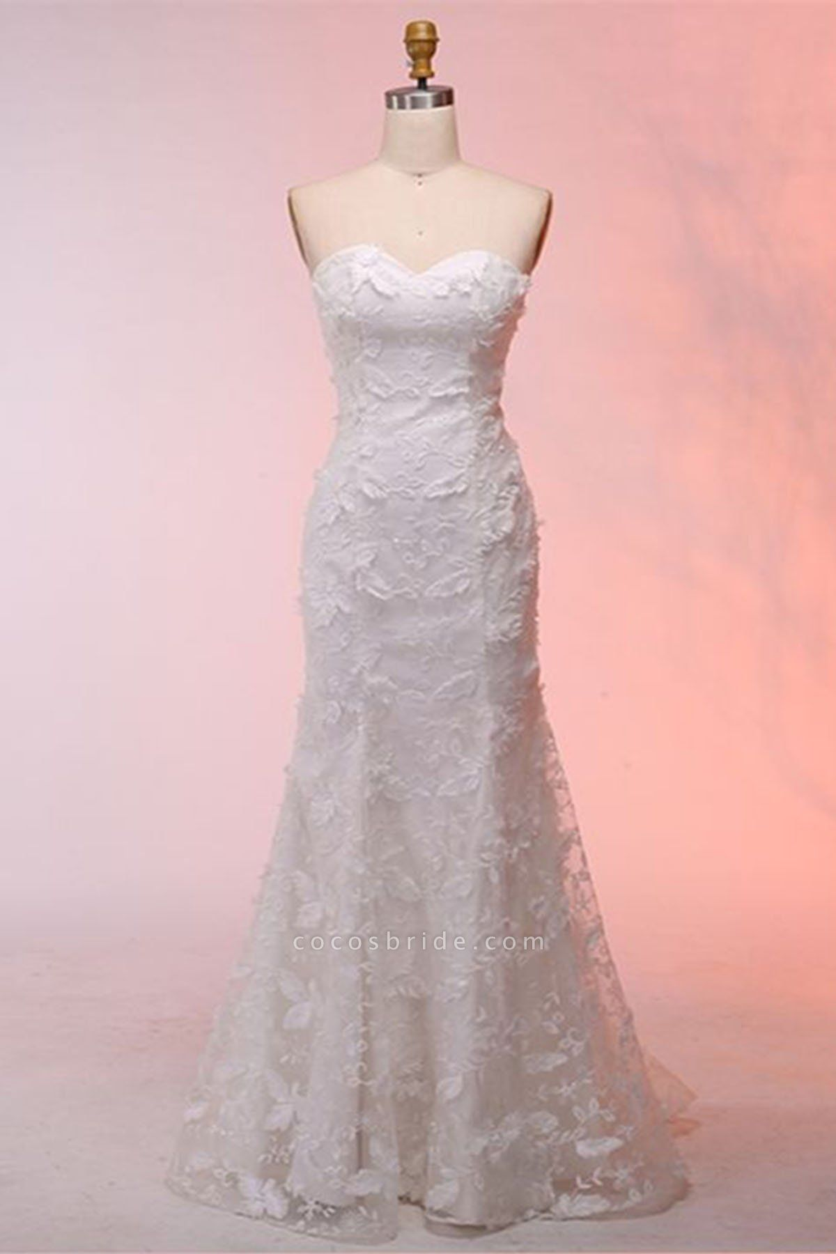 White 3D Lace Sweetheart Neck Long Mermaid Wedding Dress