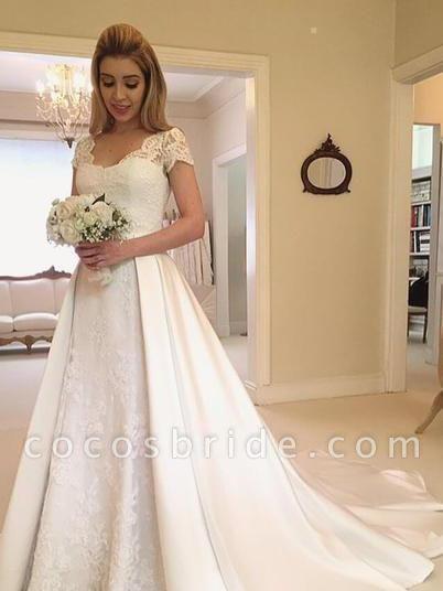 V-Neck Short Sleeve Lace Satin A-Line Wedding Dresses