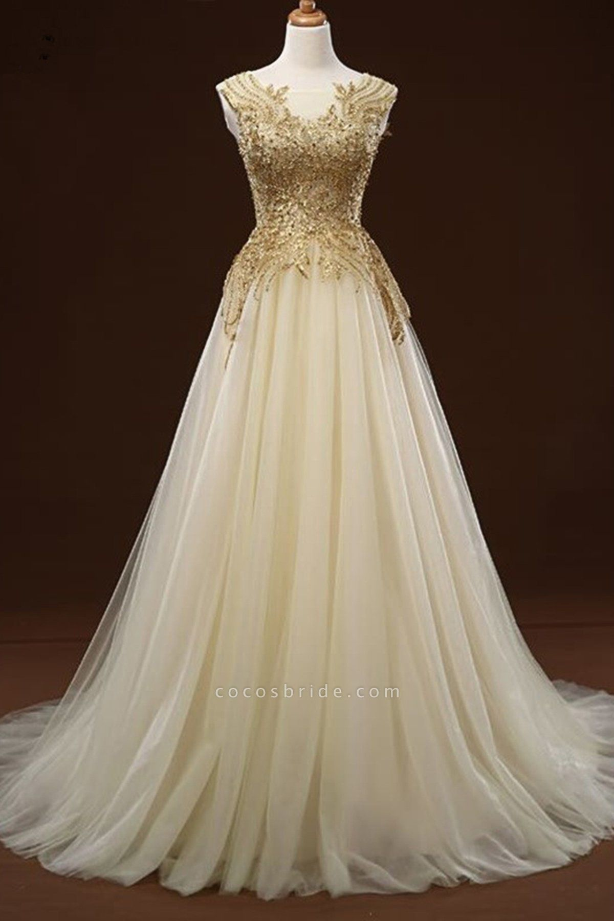 White Tulle Long Gold Applique Wedding Dress
