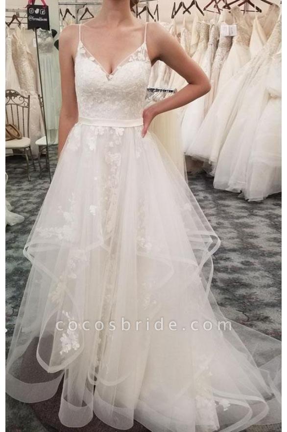 Spaghetti Straps Beach Tulle Appliques Wedding Dress