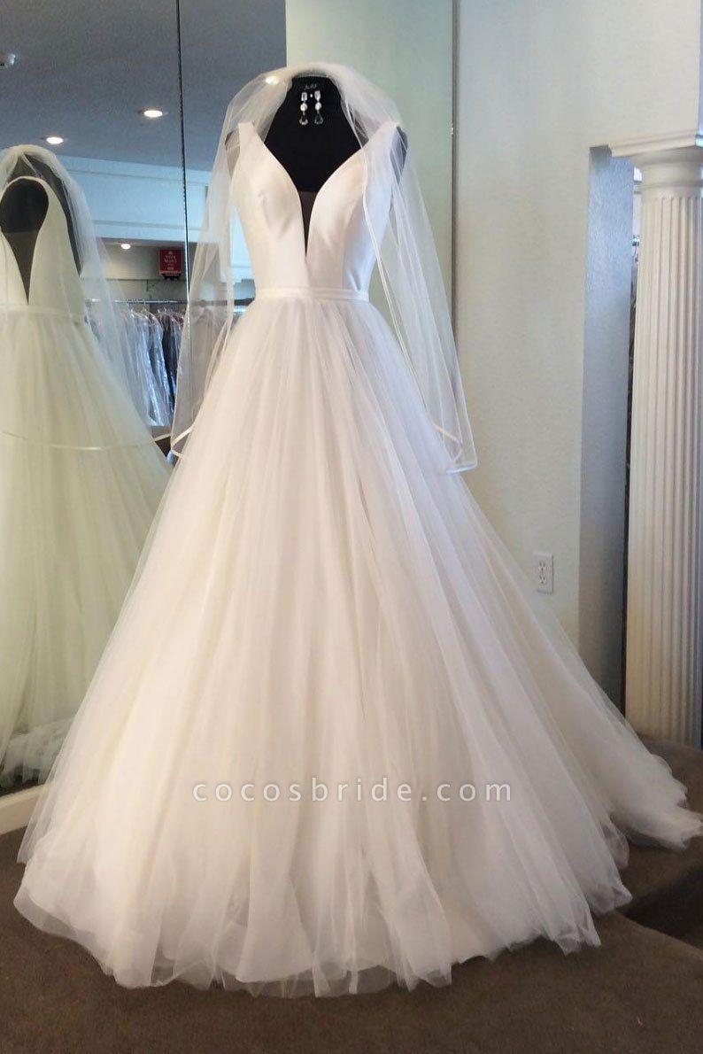 White Tulle Satin V Neck Long Wedding Dress Spring With Veil