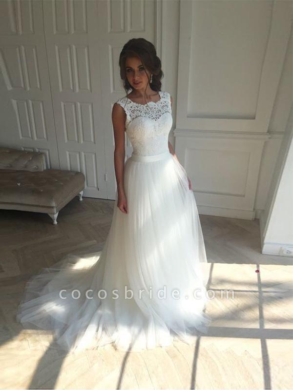 Illlusion A-Line Lace-Up Ribbon Wedding Dresses