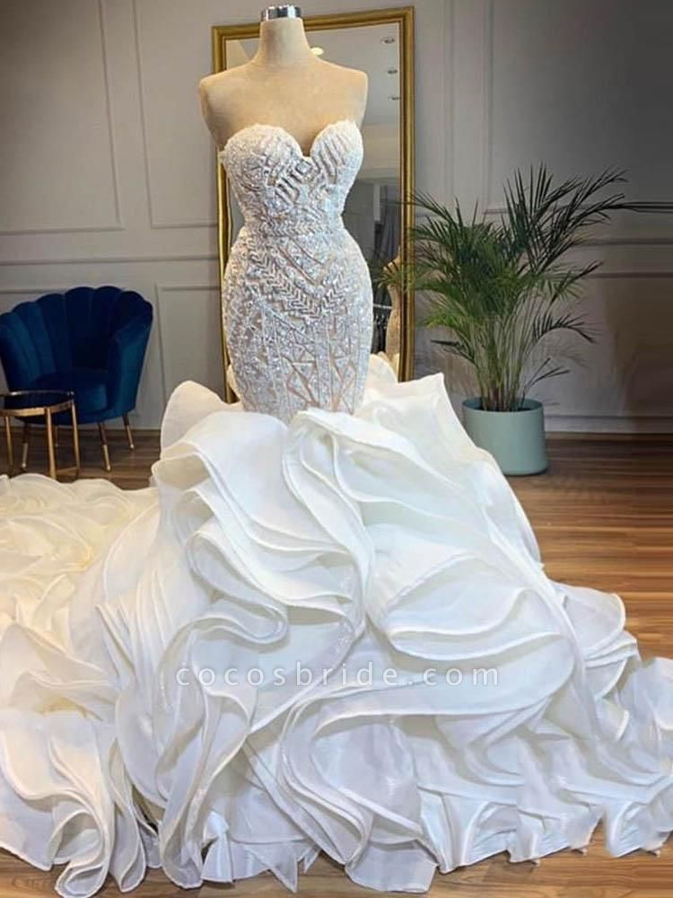 Elegant Sweetheart Lace Up Crystal Mermaid Wedding Dresses