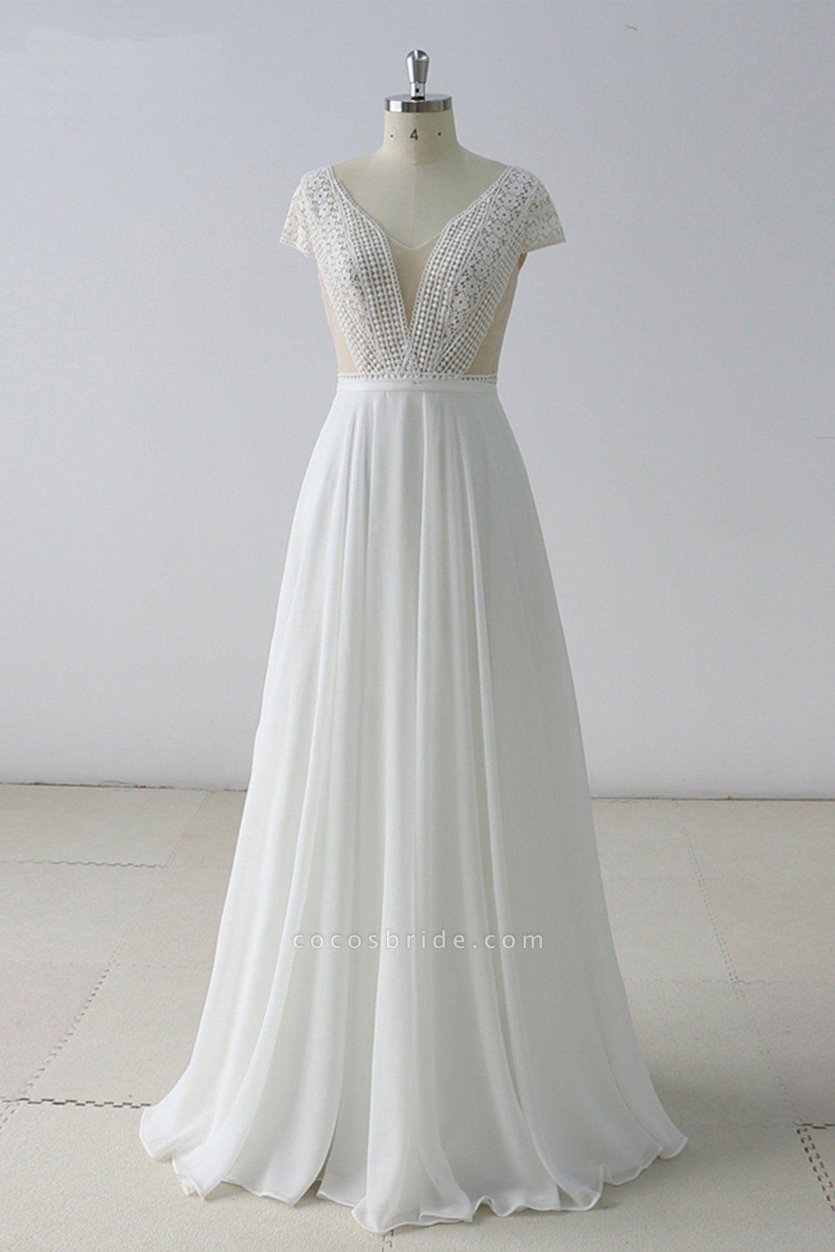 White Lace Backless V Neck Long Wedding Dress